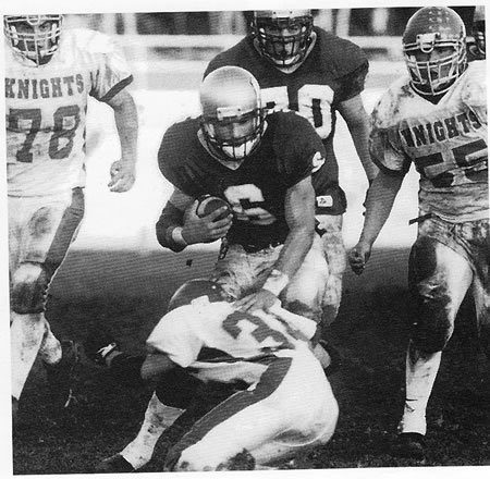 """catholic singles in booker Dauson booker sprinted, crawled, spun and lept his way to a game-high 152 rushing yards with a touchdown as the central catholic football team downed rival st mary's 20-7 in the """"holy bowl"""" on friday night at the rams' sanguinetti field."""